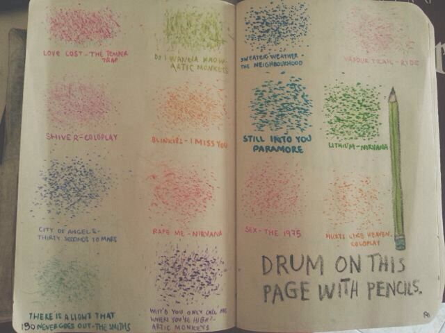 Drum on this page with pencils - drum to the beat of different songs - such a clever idea! Smash book