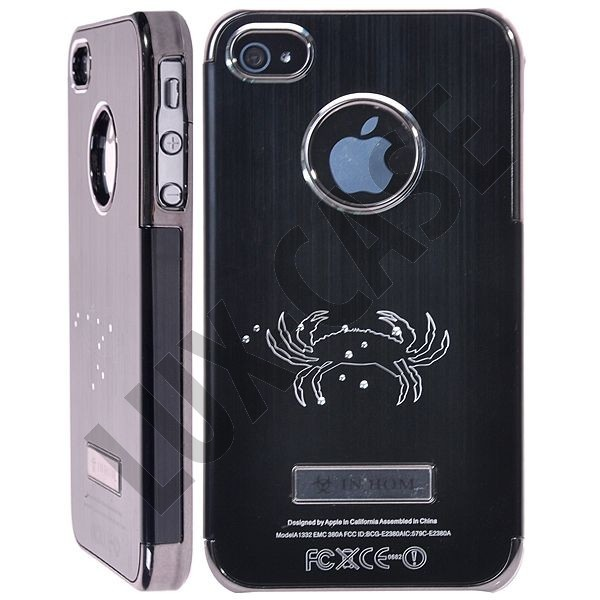 Zodiac Bling - Alu Back (Svart) iPhone 4/4S Deksel