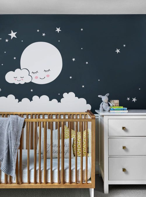 moon clouds and stars wall decal star nursery baby on wall stickers design id=98280