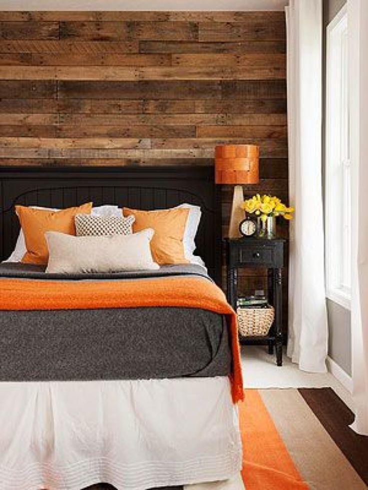 Orange and brown bedroom, interior design
