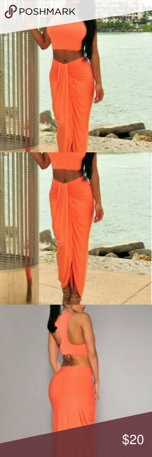 Orange Cascading Two Piece Skirt Set Material: Polyester and Spandex  Sizes available: Small, Medium and Large   SIZE CHART Small Bust: 32 - 35 inches Waist: 24 - 27 inches Hips: 34.5 - 37.5 inches  Medium Bust: 36 - 38 inches Waist: 27 - 30 inches Hips: 37.5 - 40 inches  Large Bust: 38.5 inches Waist: 30 - 35 inches Hips: 40 - 45.5 inches Dresses High Low