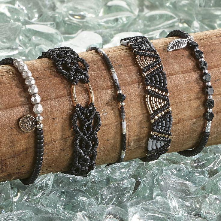 Zwarte armbanden   Polderparel armbanden   macrame