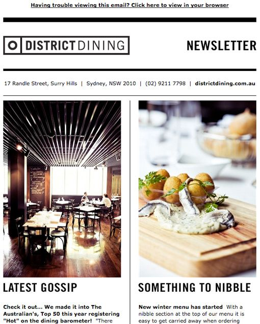 Email newsletter template. Love the simple clean look, but outstanding pics are a must for this one