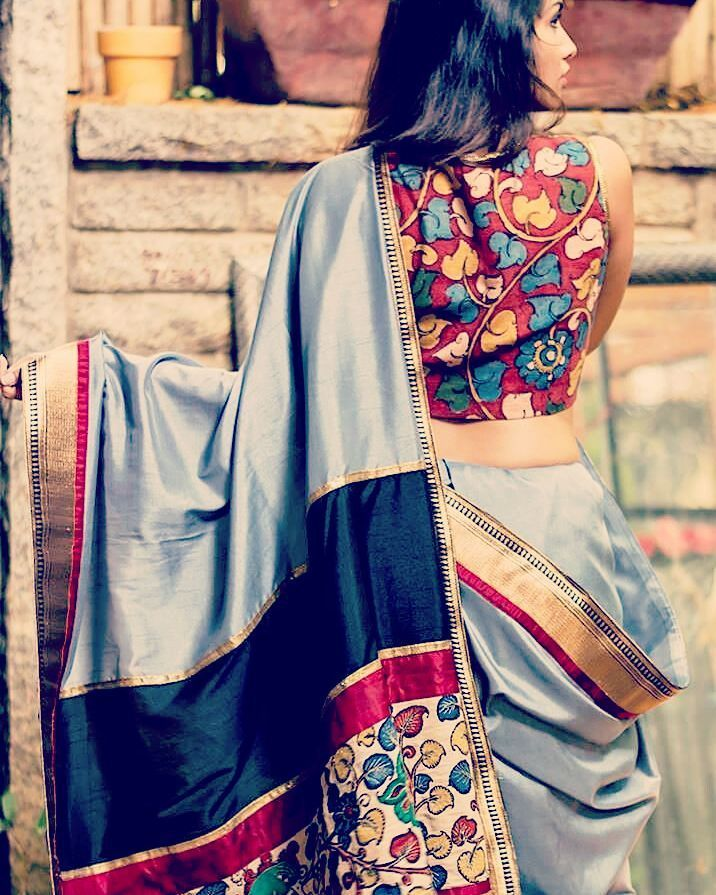 Semi Silk Saree with kalmkari work.  #girlsfashion #girlsgeneration #uk #todayfashion #malaysia #silksaree #ethnic #bridal #colorsful #collection #dulhan #designer #anarkali #best #georgette #lahanga #printedsarees #print #indiantextile #kalamkari #ajrakh #sale #sareeday #ladies #women #goonj #palna #traditional #flowerinmyhair #fashiondeal