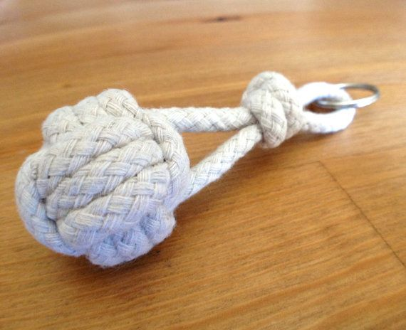 CLOSEOUT: Nautical Monkey Fist Rope Knot Sailing and Boating Keychain - Great Party and Wedding Favor!