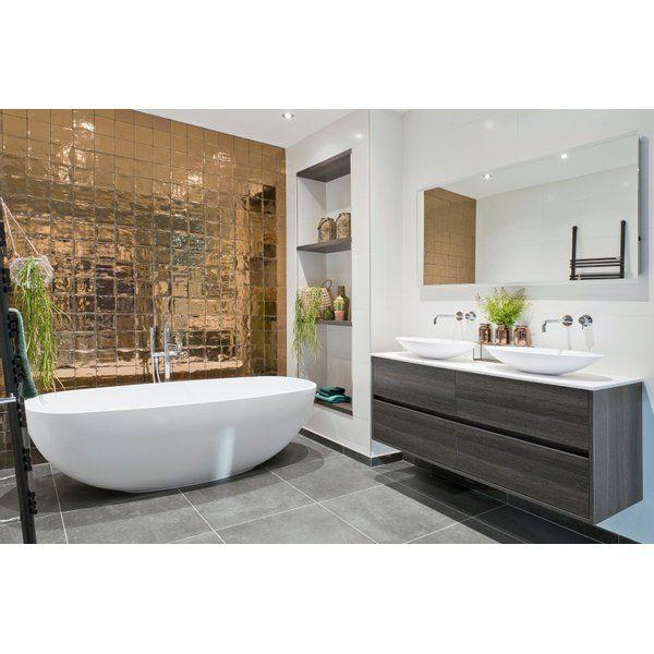 Vtwonen Villa Wandtegel 13x13cm Dark Gold Glans In 2021 Badkamer Gouden Badkamer Luxe Badkamers