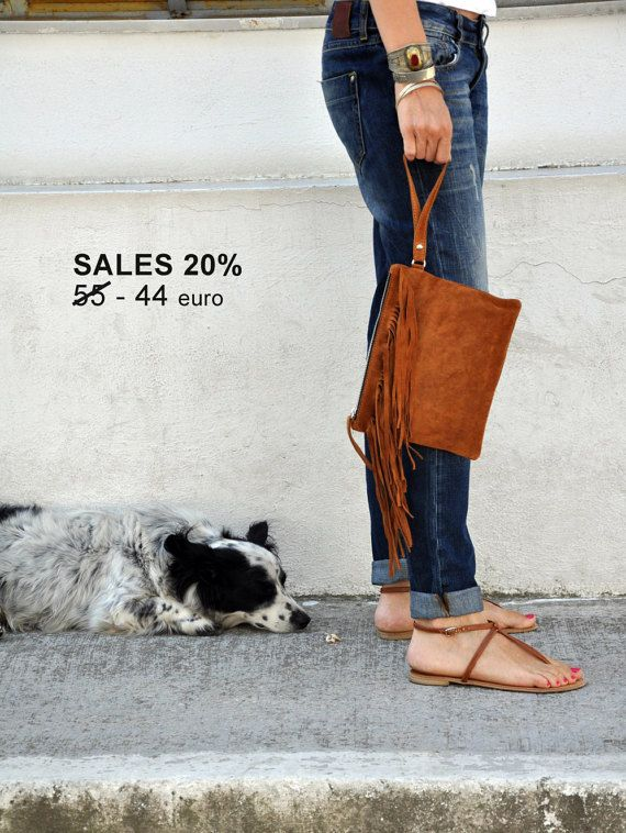 SALES: Boho style fringe clutch with handle suede by byCACHE