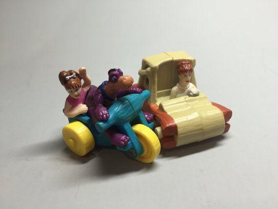 FLINTSTONES CAR, Flintstones Character push toy,vintage rolling toy, vintage Flintstones toy, Hanna Barbera toy,Pebbles and Dino toy