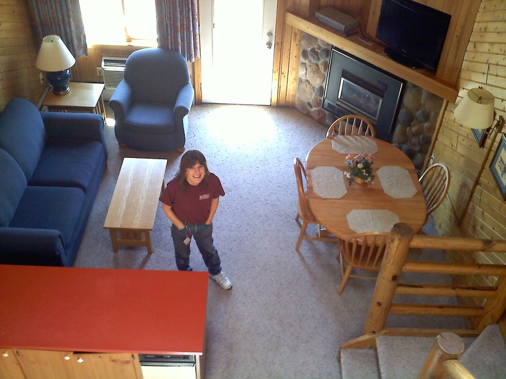 Breezy Point Timeshare Resort facilities - Looking down into the living room from 2nd floor (Highland Village -  2011