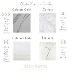 White Marble Guide. White Marble Pricing Guide. White Marble Price. Comparing price of white marble. Calcutta Gold Marble price. Carrara Marble price. Colorado Gold Marble price. Statuary Marble price.   Photo credit to-Home Bunch