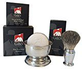 GBS 3 Piece set -Comes in Gift Box  Pure Badger Shaving Brush GBS Bowl and Soap! 97% All Natural Gbs Ocean Driftwood Shave Soap (Chrome)