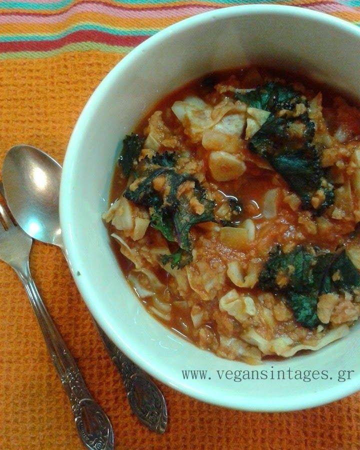 !Βίγκαν Συνταγές!: Λάχανο με κιμά σόγιας και κόκκινη σάλτσα