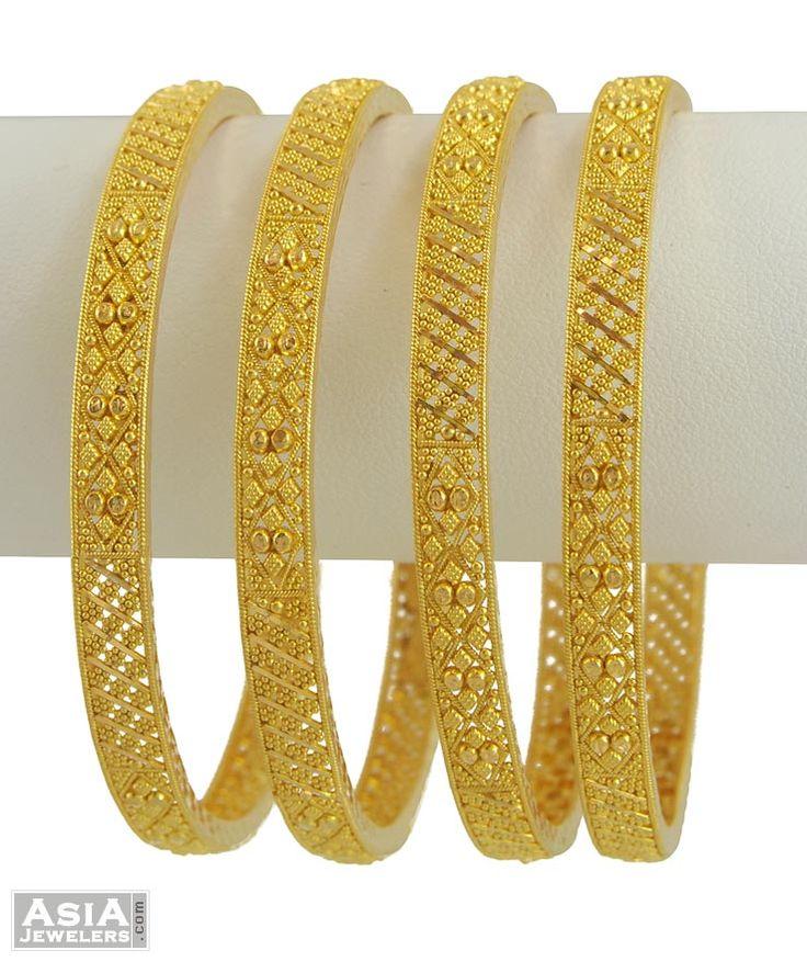 22K Gold Designer Bangles(2 pcs)