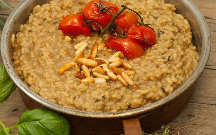 Risotto with Cherry Tomatoes. A very Mediterranean risotto!   	Sauté the onion with some olive oil in a pan over medium heat for at least 8 minutes. At the same time, heat the stock in a separate pot. As ...