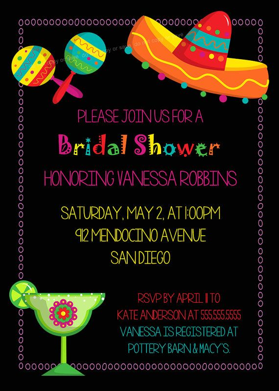 Mexican Fiesta Bridal Shower Invite Printable by PhotoGreetings