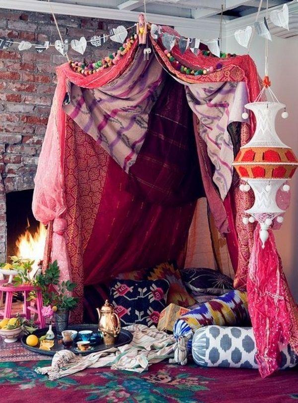 Boho chambre tente Cheminée Coussin