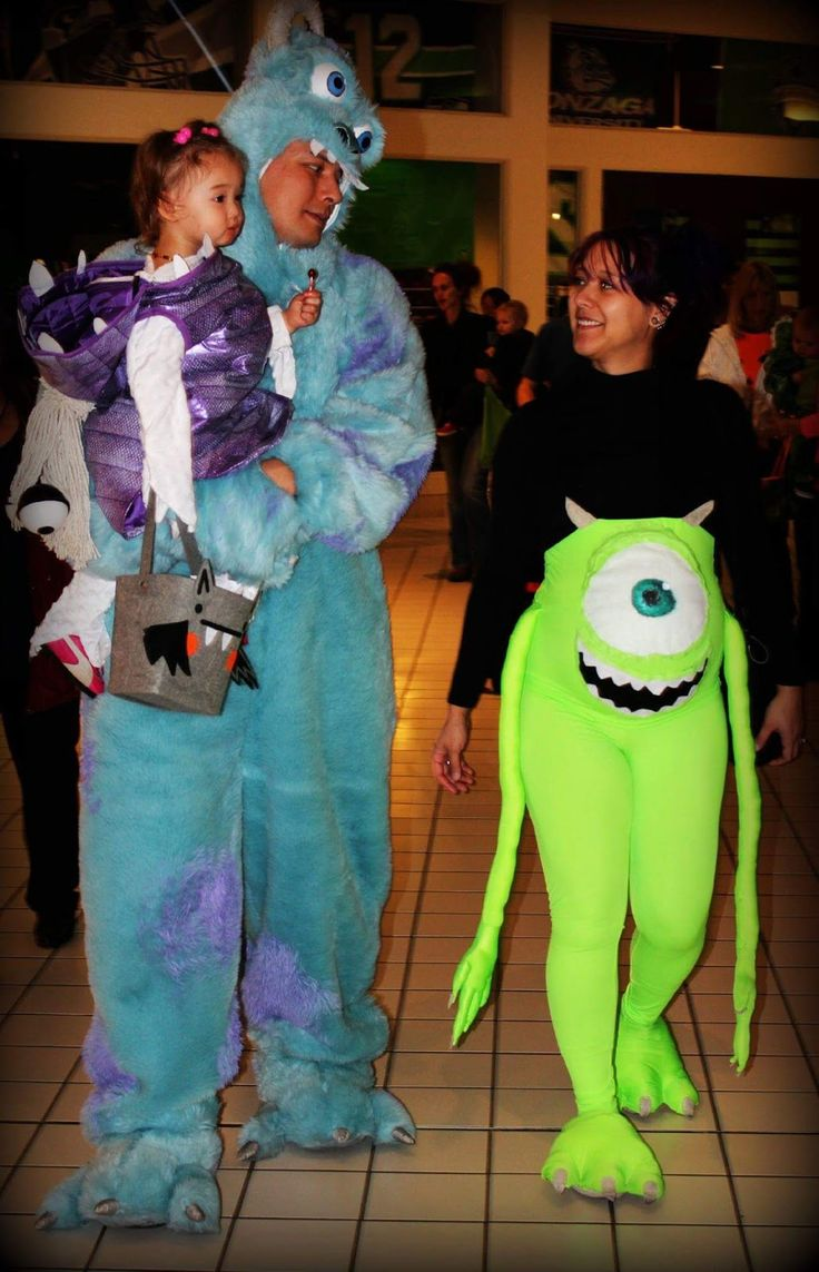 Super cute Monsters inc costumes. Pregnant momma costume ...