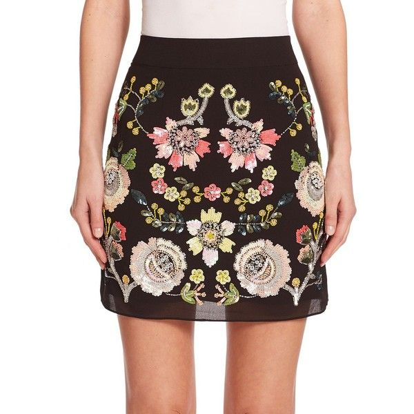 needle & thread Sequined Floral Skirt ($145) ❤ liked on Polyvore featuring skirts, apparel & accessories, black, black floral skirt, long sequin skirt, sequin skirt, black knee length skirt en floral a line skirt