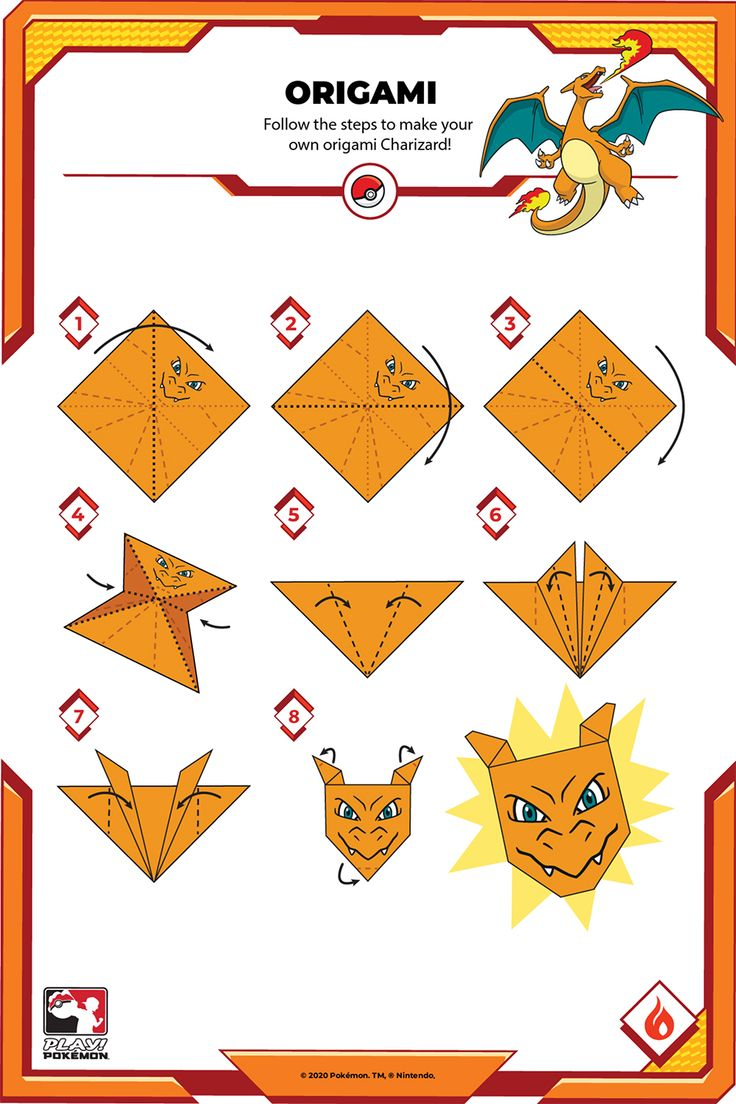 Follow these steps to make your own origami Charizard! Creative Activities, Creative Kids, Make Your Own, Make It Yourself, How To Make, Origami, Play Pokemon, Charizard, Playing Cards