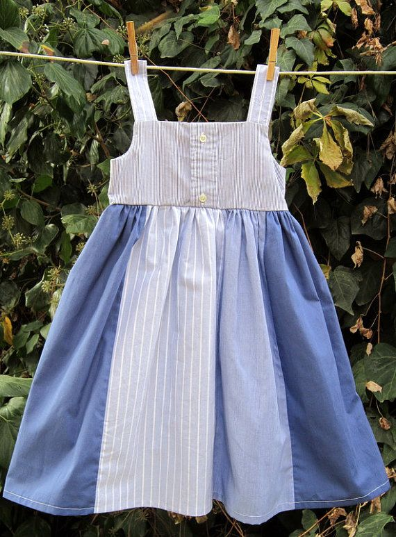 Daddy's Little Girl Dress---upcycled from mens dress shirts---size 3 on Etsy, $36.00