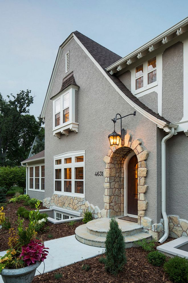 the exterior stucco color is benjamin moore stonington gray and trim is benjamin moore white dove renae keller interior design inc