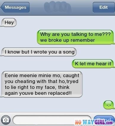 Send Your Ex A Text Message Like This | NoWayGirl.com like the song!! Lol cheaters should get that sent to them