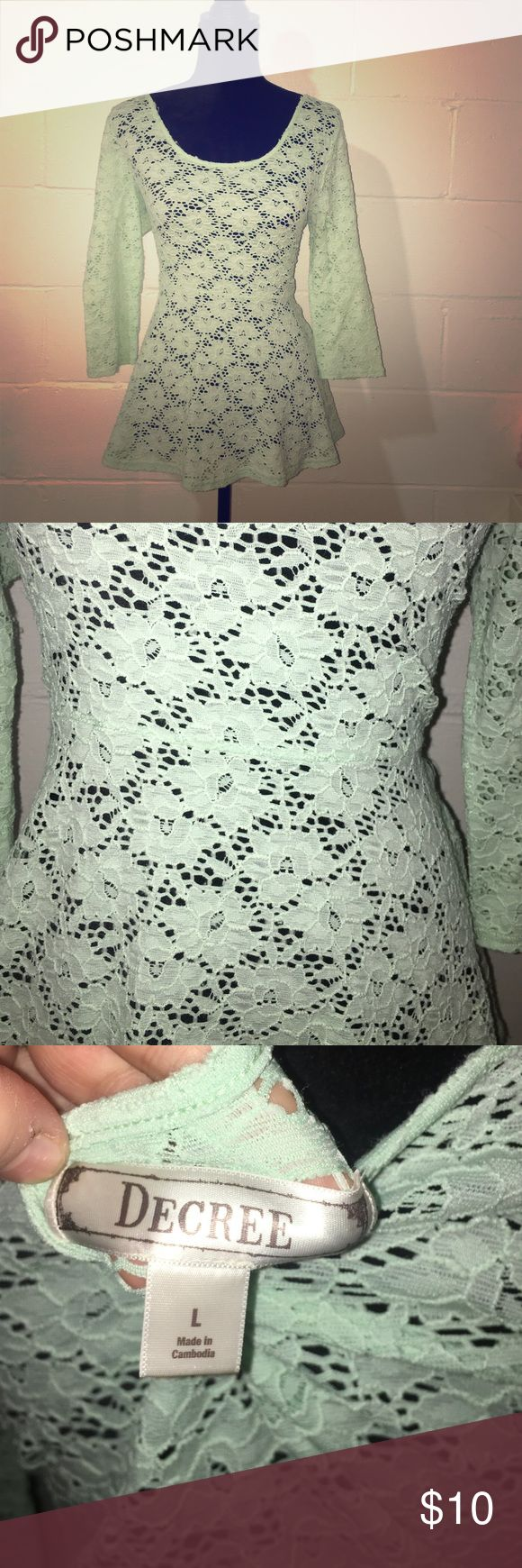 Mint lace Peplum Top Adorable little lace peplum top with 3/4 sleeves! Decree Tops Blouses