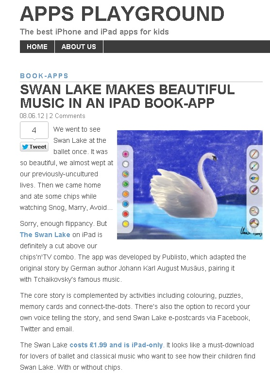Thank you Apps Playground for your wonderful review for our SWAN LAKE  http://www.appsplayground.com/apps/tag/publisto/