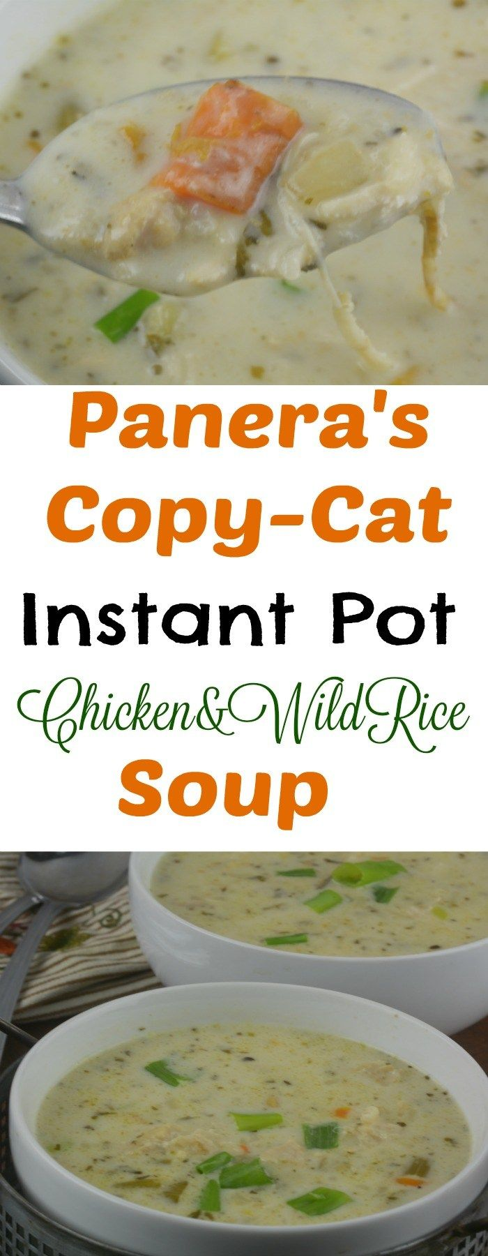 Panera's Copy-cat Instant Pot Chicken and Wild Rice Soup