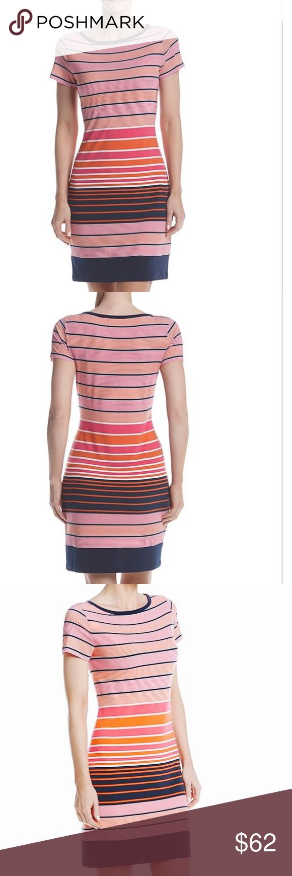 NWT Michael Kors T-Shirt Stand out with bright, fun style in this stripe printed t-shirt dress from MICHAEL Michael Kors. Polyester Crew neck Short sleeves Allover stripe print Above knee length Michael Kors Dresses