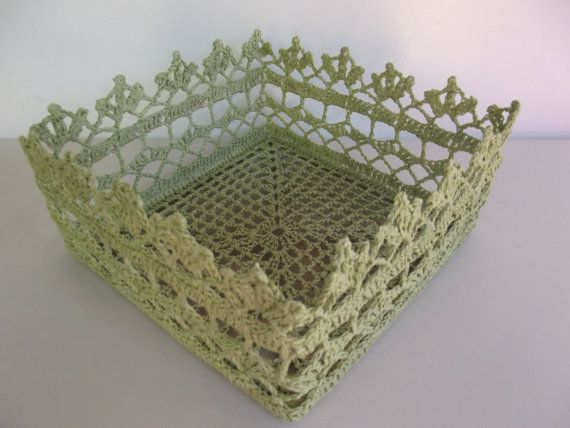 Crochet Basket Light Green by SuayaArt on Etsy