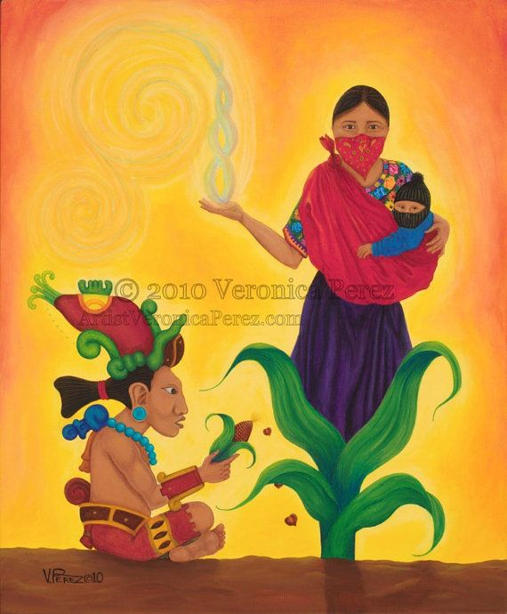 Seeds of Resistance  Veronica Perez © 2010 (Acrylic painting, Chicana, xicana, mexican, art, arte, EZLN, zapatistas, yuum kaax, maiz, corn, no gmo, indigenous resistance, cultura, tradition, maya, mujer zapatista, zapatista woman)