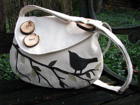 Sale -SINGING BIRD on a Branch Handbag/  Water Repellent canvas /tote /eco friendly /messenger / Buy 2 of Any Combination receive 10% off