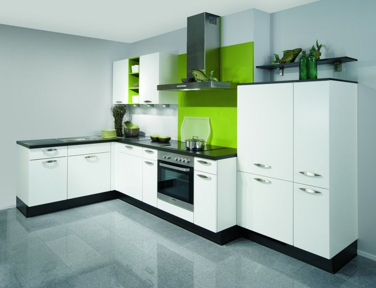 Whilst this particular wanted to utilize a sleek combination of black and white gloss Nobilia cabinets, we gave the finished kitchen a crisp injection of colour with a stunning lime green splash back that worked so well with the monochrome theme of the cabinets.