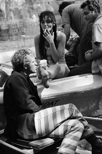 Steve McQueen getting a smoke from Suzanne Pleshette (using her feet) 1978