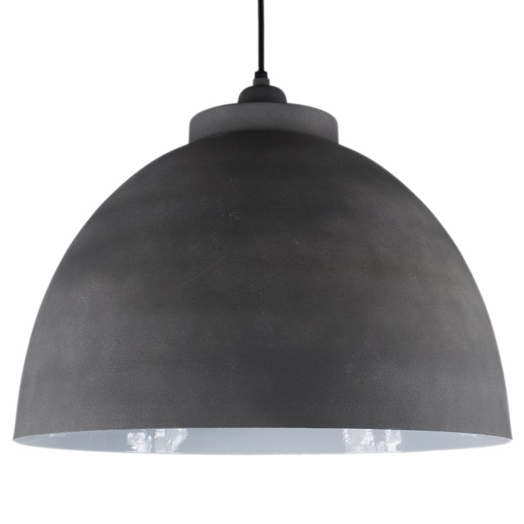 Hanglamp Capri 44cm  cement kleur + witte binnenzijde