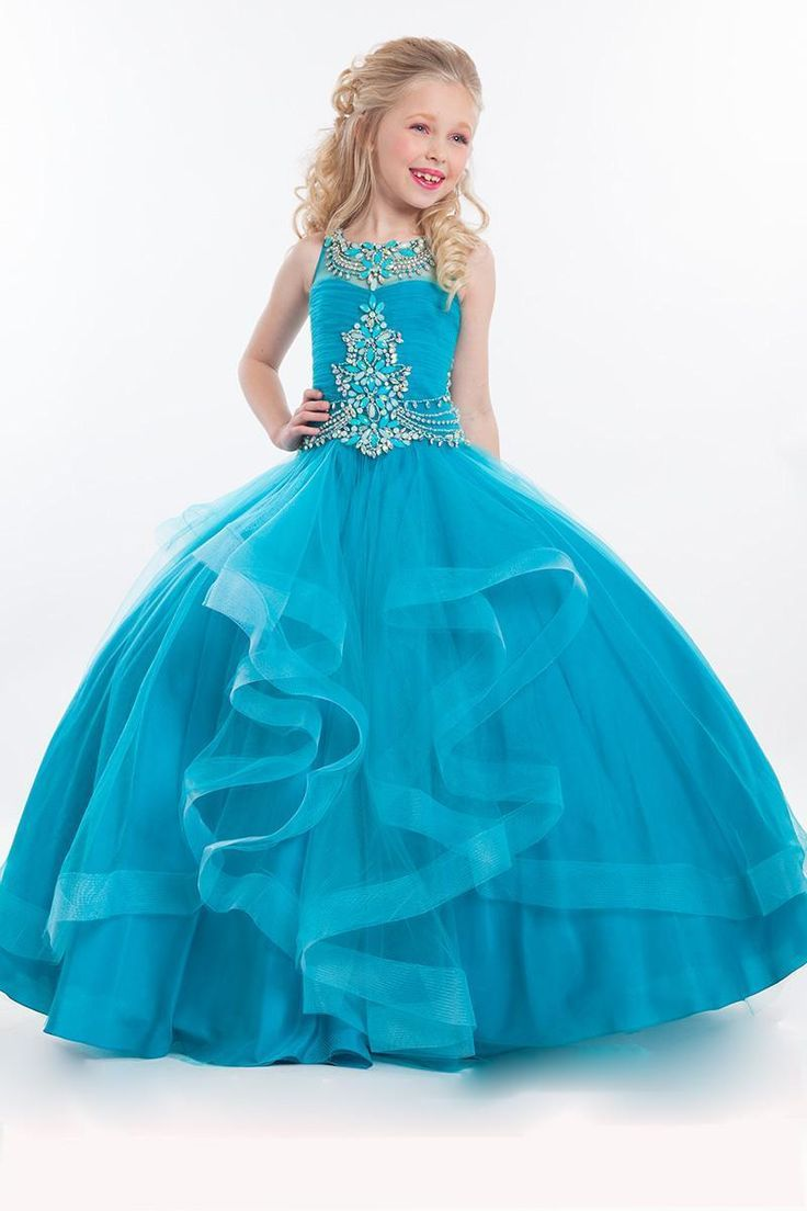2016 New Teal Cute Girls Pageant Dresses size 10 Tulle Crystal Beads Ball Gown For Kids Long Floor Length Ruffles Flower Girls Party Gowns