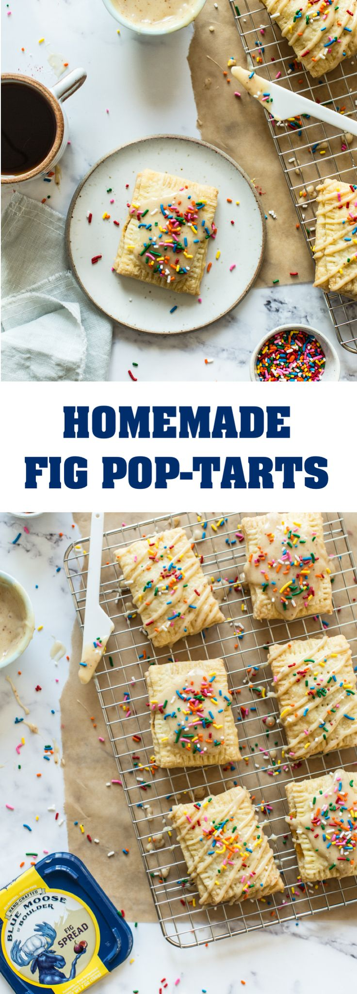 Homemade Fig Pop-Tarts | There's nothing better than a freshly baked treat at breakfast or brunch. These homemade pop-tarts combine perfectly flakey pie crust with a flavorful fig center and topped with Blue Moose of Boulder's deliciously creamy and naturally sweet Fig Spread. Don't forget the rainbow sprinkles! #BlueMooseOnTheLoose