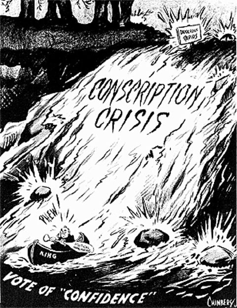 This propaganda picture shows the conscription crisis, where French Canadians did not want conscription while the rest of Canada did. This is reliable and credible because it came from the Canadian History website. It tells us that many men are going to be going to war, with or without conscription.