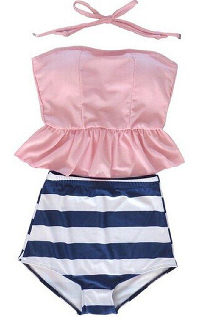 Women's Retro Vintage High Waisted Tankini Skirt Bikini Swimsuit Bath Suit