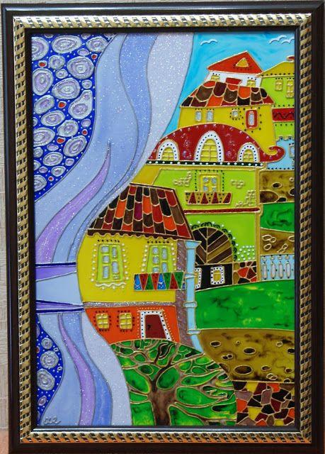 Витражная роспись по стеклу: Вид из окна