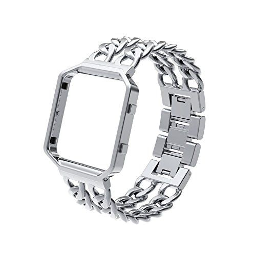 Wearlizer Lux Replacement Metal Bands with Metal Frame for Fitbit Blaze - Silver