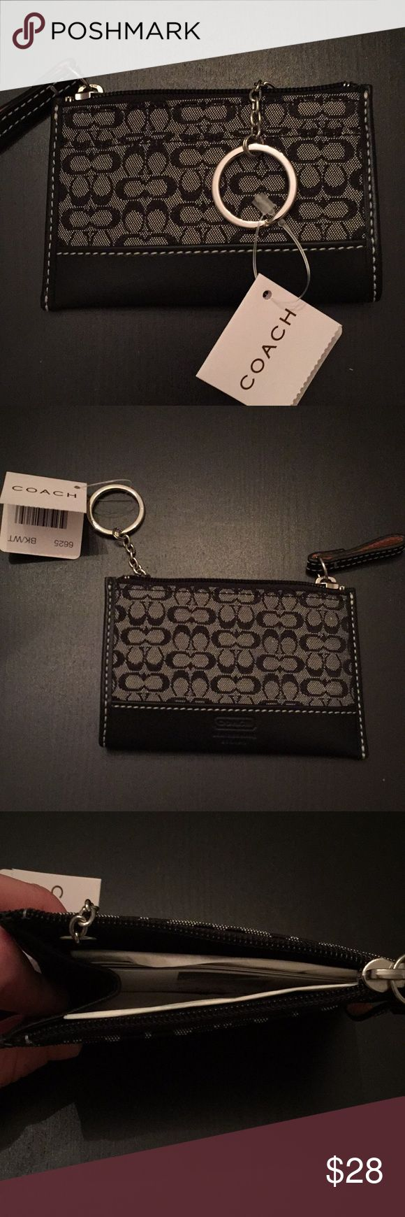 Coach Skinny Wallet in Signature Print Canvas Signature canvas Credit card slot,  Zip-top closure, fabric lining Witg leather details Coach Accessories Key & Card Holders
