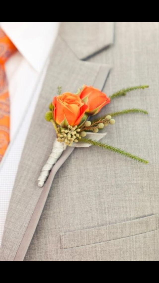 Grooms buttonhole - orange