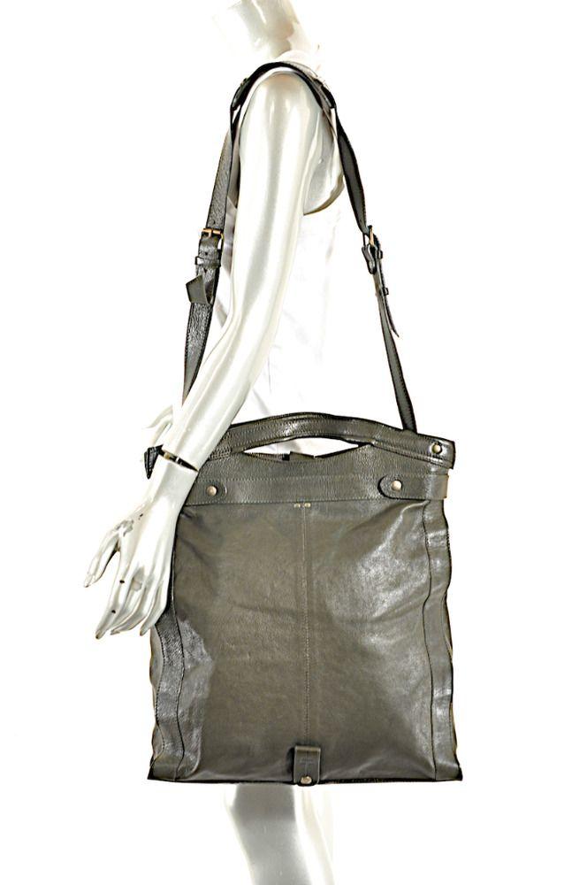 "JEROME DREYFUSS Olive Green Leather Adjustable Cross body Handle Bag  16"" X 16"" #JeromeDreyfuss #CrossbodyToteMessengerCrossBody"