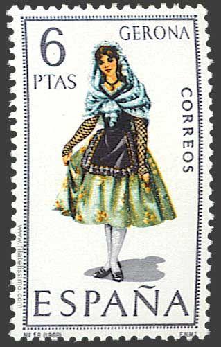 Trajes regionales españoles en sellos GERONA