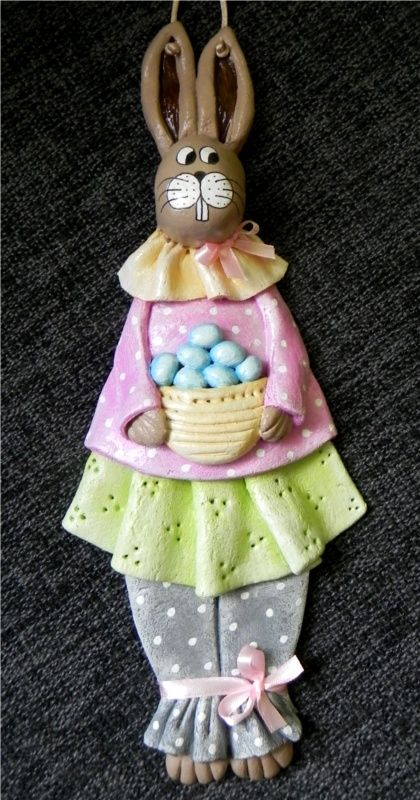 Decokuferek - rękodzieło artystyczne, masa solna, papierowa wiklina, decoupage: Wielkanocny zajączek