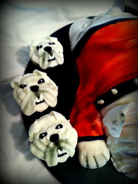 "3D Georgia Bulldog cake with matching ""pupcakes"""