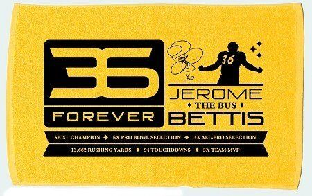 "Pittsburgh Steelers Jerome Bettis ""The Bus"" 36 Forever Gold Towel by Jerome Bettis. $14.95. This is a must have for any Steelers fan.. This is a Gold Jerome Bettis 36 Forever Towel.. This towel includes his career stats and reads ""36 Forever"" and ""Jerome ""The Bus"" Bettis "". Approximately size is 25"" by 15"". This is a Gold Jerome Bettis 36 Forever Towel.   This towel includes his career stats and reads ""36 Forever"" and ""Jerome ""The Bus"" Bettis ""  This is a must have for any ..."
