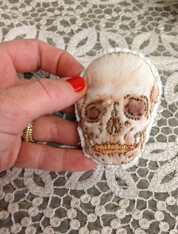 Skull Pin anatomical handembroidered plush by meagandsegal